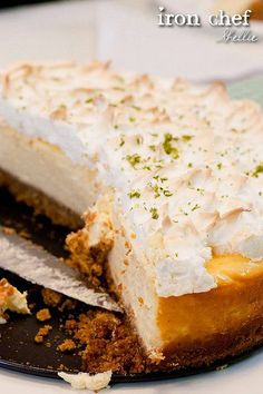 NYC coconut lime meringue cheesecake - Jamie Oliver (British version) Digestive biscuits = graham crackers Caster Sugar = powdered sugar