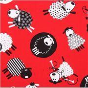 Tela roja animal oveja tejiendo de Timeless Treasures