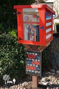 Sandra P. San Leandro, CA. little red library in the 'dro inspired by dr. suess so go - you'll think and wonder oodles more people, places, and things galore the more you read the more you'll know!