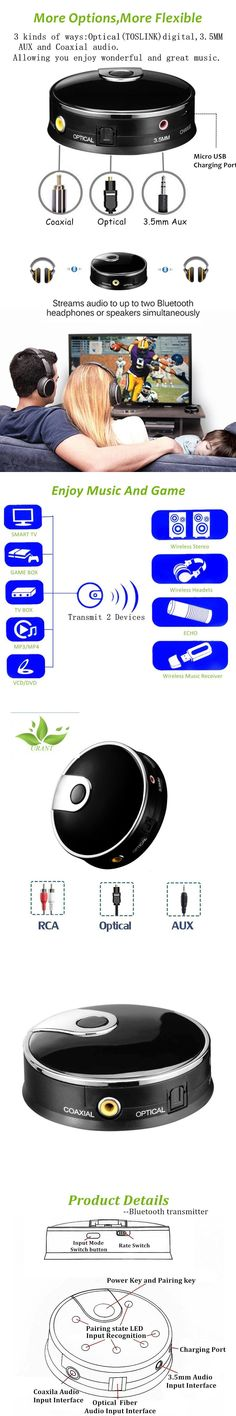 Bluetooth Transmitter 4.0, Digital Optical Fiber Toslink Wireless Adapter Audio Video Stereo Video Adapter with 3.5 mm Port Aux