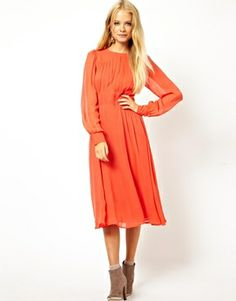 Image 1 of ASOS Midi Dress With Gathered Front