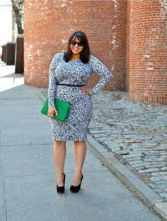 {black and white and green all over} REAL Curvy Girl inspiration from Gabi Gregg, her blog: Gabi Fresh