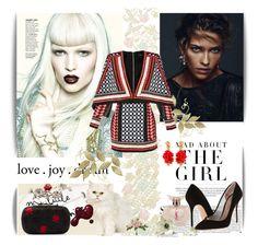 """Love. Joy. Dream."" by alessiia ❤ liked on Polyvore featuring Yves Saint Laurent, Kurt Geiger, Alexander McQueen, Balmain, Oscar de la Renta, Pier 1 Imports and Kershaw"