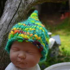ReADY to SHiP Baby Hat PHoTo PRoP Newborn MiDdle EaRth Elf ToQuE KNiT Pixie Fairy Lime Yellow Unigender Boy Girl PiXie FAiRy Beanie. $30.00, via Etsy.