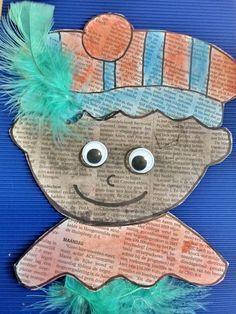 Knutsel Piet met een krant. | krantenkunst sinterklaas | Kun je een Sinterklaas-knutsel maken van een krant?