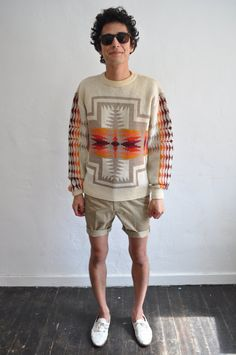 Navajo sweater + the shorts = insanely cool