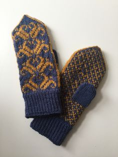 Hand knitted soft wool mittens in blue with yellow traditional floral fairisle pattern. Hand Printed Fabric, Printing On Fabric, Cozy Socks, Fingerless Mitts, Fair Isle Pattern, Blue Yellow, Mittens, Hand Knitting, Wool