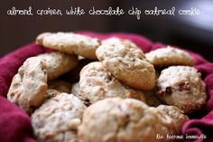 Almond, Craisen, White Chocolate Chip Oatmeal Cookies