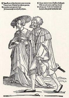 Title: Ein zum Tanz schreitendes Paar              Tags: Kuhmaul shoes, Hat, Landsknecht, Trossfrau, Neckchain, Hairnet, Coat              Date: 1531                        Artist: Erhard Schoen              Provenance: Germany              Collection: Kupferstichkabinett