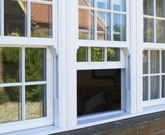 Colin's Sash Windows supply top quality uPVC sliding sash windows and doors that are ready to fit for only plus VAT delivered across the UK. but in timber colour. Upvc Sash Windows, Dormer Windows, House Windows, Windows And Doors, Victorian Windows, Bungalow Renovation, Georgian Architecture, Wooden Windows, Front Rooms