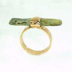 Anillo Cianita crudo anillo Cianita verde delicado por inbalmishan