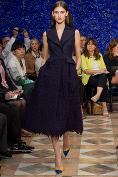 Navy sleeveless Christian Dior Fall 2012 Couture - love the detail on the skirt! | Curated pins by SommerSwim