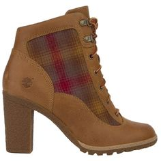 Pre-owned Timberland Glancy Hiker Ankle - Wheat Boots (240 BAM) ❤ liked on Polyvore featuring shoes, boots, ankle booties, wheat, laced boots, chunky booties, lug sole boots, round toe boots and laced up booties