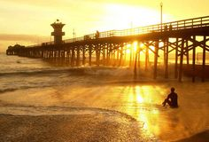 A surfer's sunset in Seal Beach, Calif.