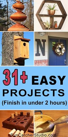31+ Easy DIY Projects. Complete in under 2 hours! These beginner woodworking projects make create handmade gifts.
