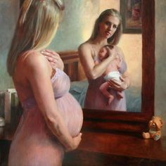 Pregnant lady looks in lady to see herself with her newborn baby #magic #pregnancy #mommy #mummy #mummyblogger #mommyblogger #child #baby #babies #lifeasamum #lifeasamom #hotmom #mothernature #wildwoman #sacredfeminine
