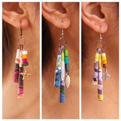 ZezeCraft&Design Pop Collection Earring 01 (ZCDPCE01) #recycle #earring #paperbead #zezecraftdesign