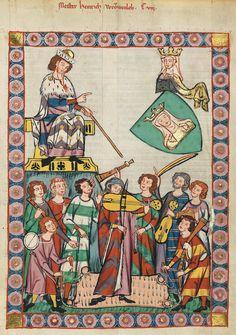 Codex Manesse Heinrich von Meißen (Frauenlob) (1315-1349) 7.1 TROUBADOUS ZIJN: Meestal van Adel, geen broeposmusici, passen binnen nieuwe levenshouding aan het hof (bezingen bijvoorbeeld de hoofse liefde). - Pinterest