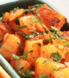 Hocus Pocus Patatas Bravas - This is not only warming on cold nights but potatoes and parsley are a good source of vitamin C. Vegan and gluten free