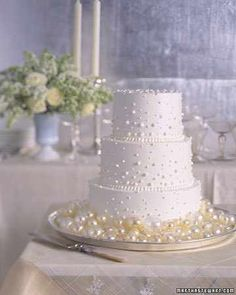Scattered Flower Petals Romantic Wedding Cake..
