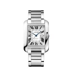 Cartier Tank Anglaise, large model. Steel case, nine sided crown set with a synthetic spinel cabochon, sapphire crystal, flinqué and silvered dial, blued steel sword-shaped hands, polished steel bracelet with satin-finished central links, ref. MX0084L4, mechanical movement with automatic winding caliber Cartier 077, calendar aperture at 3 o'clock, water resistant up to 30 m. Case dimensions: 39.2 x 29.8 mm, 9.5 mm thick. $6,650