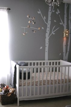 Woodland Nursery...love the birdhouse night light the floating white shelves! And the trees! And the woodland pictures!