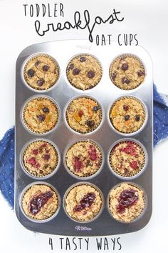 These allergy-friendly Toddler Breakfast Oat Cups are about to make your  crazy mornings a whole lot easier (and more delicious)! They are made with  wholesome ingredients such as oats, bananas, coconut oil and maple syrup  and are refined sugar-free, dairy-free, soy-free, nut-free and  gluten-f