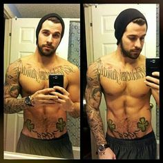 I don't know who this guy is, and I don't normally like tattoos on men, but damn. Nice face. :D