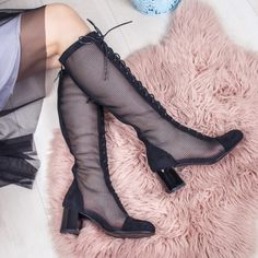 Cizme dama de vara perforate cu toc negre Braunia Knee Boots, Shoes, Fashion, Babydoll Sheep, Color, Moda, Zapatos, Shoes Outlet, Fashion Styles