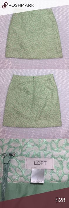 """Green Floral LOFT Mini Skirt Adorable mint green floral miniskirt. Waist 32"""". Length 28"""". Great condition. Polyester and cotton. Lined. Machine washable LOFT Skirts Mini"""