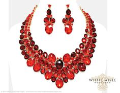 Red Crystal Necklace Set, Bridal Statement Necklace, Wedding Jewelry Set, Vintage Inspired Necklace, Chunky Necklace