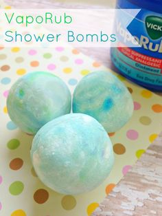 These Vaporub Shower Bombs are a great addition to your Cold & Flu kit this winter! Make these amazing and easy shower bombs for use in your daily shower!