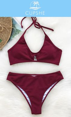 New Arrival! Fall in love with this shiny bikini! Cupshe Pleasantly Surprised Halter Bikini Set, the glamorous look will have everyone wondering who are you. Free shipping~