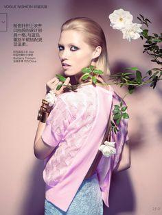 visual optimism; fashion editorials, shows, campaigns & more!: peach blush: hana jirickova by camilla akrans for vogue china march 2014