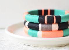 Neon. Green. Black. Set of 3 Stackable Thread Bangle Bracelets  - no. 500E