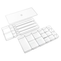 Amazon.com: InterDesign Linus Fashion Jewelry Vanity and Drawer Organizer Tray for Rings, Earrings, Bracelets, Necklaces - 3 piece set, 37 compartments, Clear: Home & Kitchen