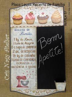 Placa Lousa Receita de Família Diy Home Crafts, Handmade Crafts, Wood Crafts, Paper Crafts, Vintage Cafe, Vintage Wood, Vintage Decor, Tole Painting, Painting On Wood