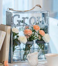 Bloom Room | Galvanized Grow Window Sitter |  Wall Decor | Window Decor | Spring Decor | Spring Crafts | Flower Arrangement | DIY Planter Crafts | Mason Jar Crafts