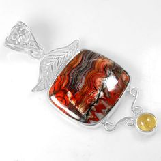 7.38 Gm 925 Sterling silver Natural Crazy Lace Agate Citrine Pendant Top Jewelry #Unbranded