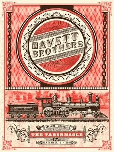 I love this gig poster for the Avett Brothers by Status Serigraph.