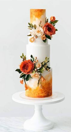 This stunning three tier watercolor wedding cake with orange sugar roses was baked and created by Sewell Sweets Wedding Cake Artist based in Oregon. wedding cakes cakes elegant cakes rustic cakes simple cakes unique cakes with flowers Pretty Wedding Cakes, Black Wedding Cakes, Unique Wedding Cakes, Wedding Cake Designs, Pretty Cakes, Wedding Themes, Wedding Cake Rustic, Fall Wedding Cakes, Wedding Cakes With Cupcakes