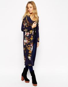 ASOS Premium - Kimono long à fleurs floues