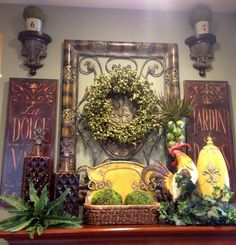 Savvy Seasons by Liz: Tuscan Mantle Vignett My favorite e Tuscan Home Decorating, French Country Decorating, Country French, Tuscan Design, Tuscan Style, Tuscany Decor, World Decor, Tuscan House, Mediterranean Home Decor