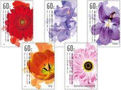 A set of five colourful stamps of popular flower species – gerbera, jacaranda, Australian everlasting, violet and tulip.