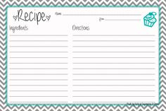 recipe book template word