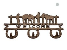 Country Style Cast Iron Triple Wall Hook  Key Holder with Horseshoes and Welcome Sign  Decorative Cast Iron Wall Hook Rack 112x12x5  With Screws and Anchors By Comfify Rust Brown *** Continue to the product at the image link.