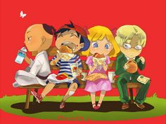Earthbound Fanart. I love that Poo is drinking water while everyone else has burgers :)