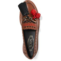 Tod's Embellished leather loafers (2.329.705 COP) ❤ liked on Polyvore featuring shoes, loafers, embellished shoes, slip on loafers, loafer shoes, genuine leather shoes and slip-on loafers