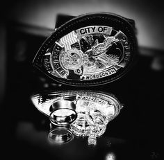 Wedding police badge and rings photo Before Wedding Pictures, Wedding Pics, Wedding Engagement, Wedding Day, Police Officer Wedding, Police Wedding, Las Vegas Photos, Fantasy Wedding, Engagement Pictures