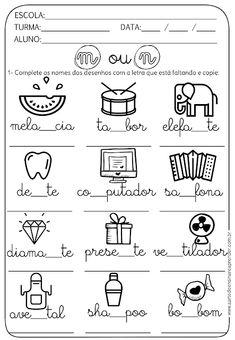 Atividade Pronta - Ortografia M ou N Home Schooling, Homeschool, Lettering, Teaching, Education, 1, Professor, Archive, Doodles